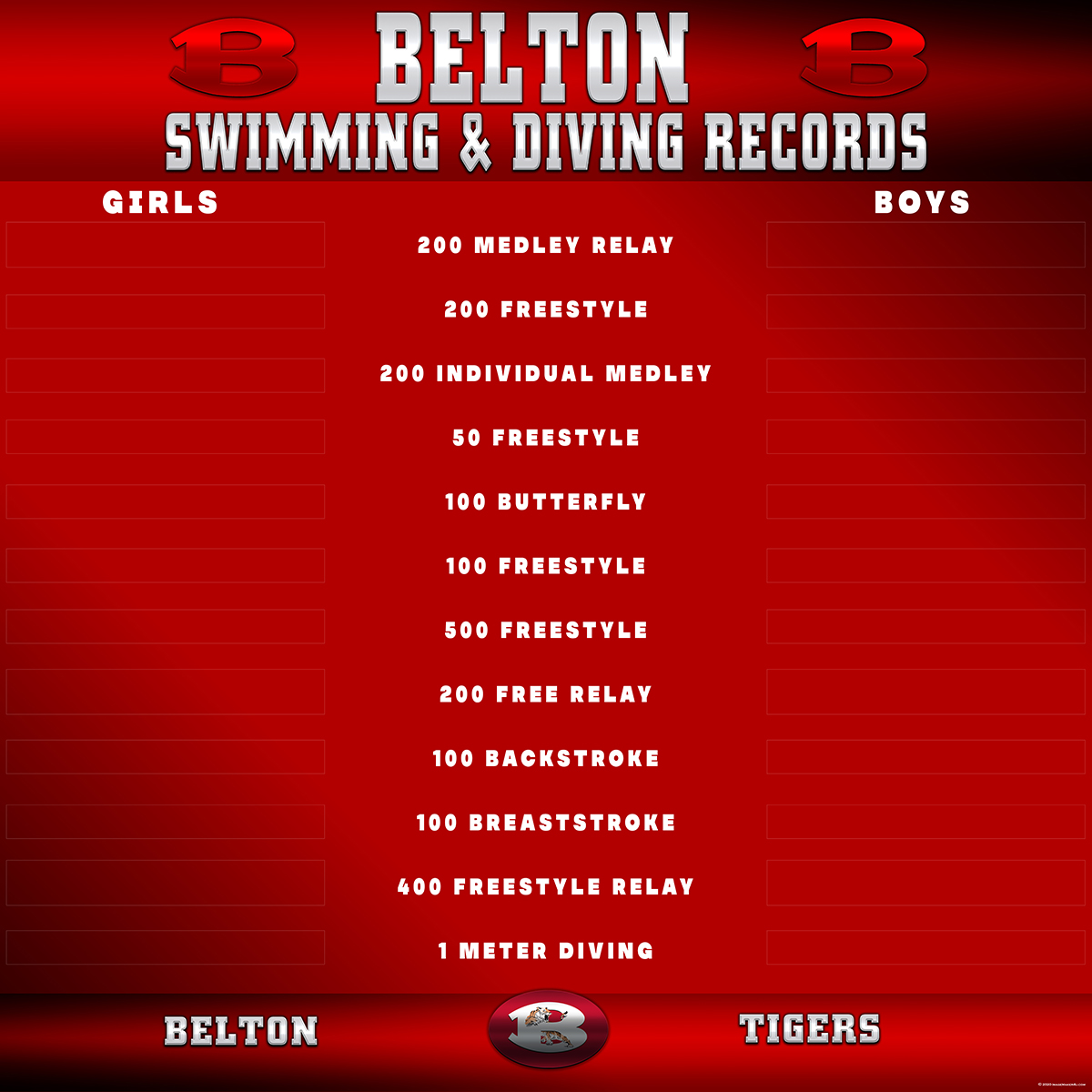 Belton Swim Records Board 96in x 96in