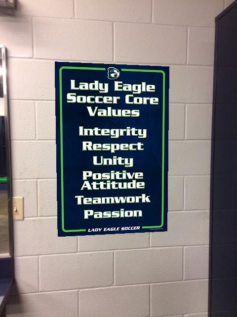 Eaton Lady Eagle Soccer Core Values sign 3x2 Ex