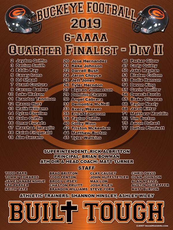 Gilmer Quarter Finalist Div 2 2020 16in x 12in