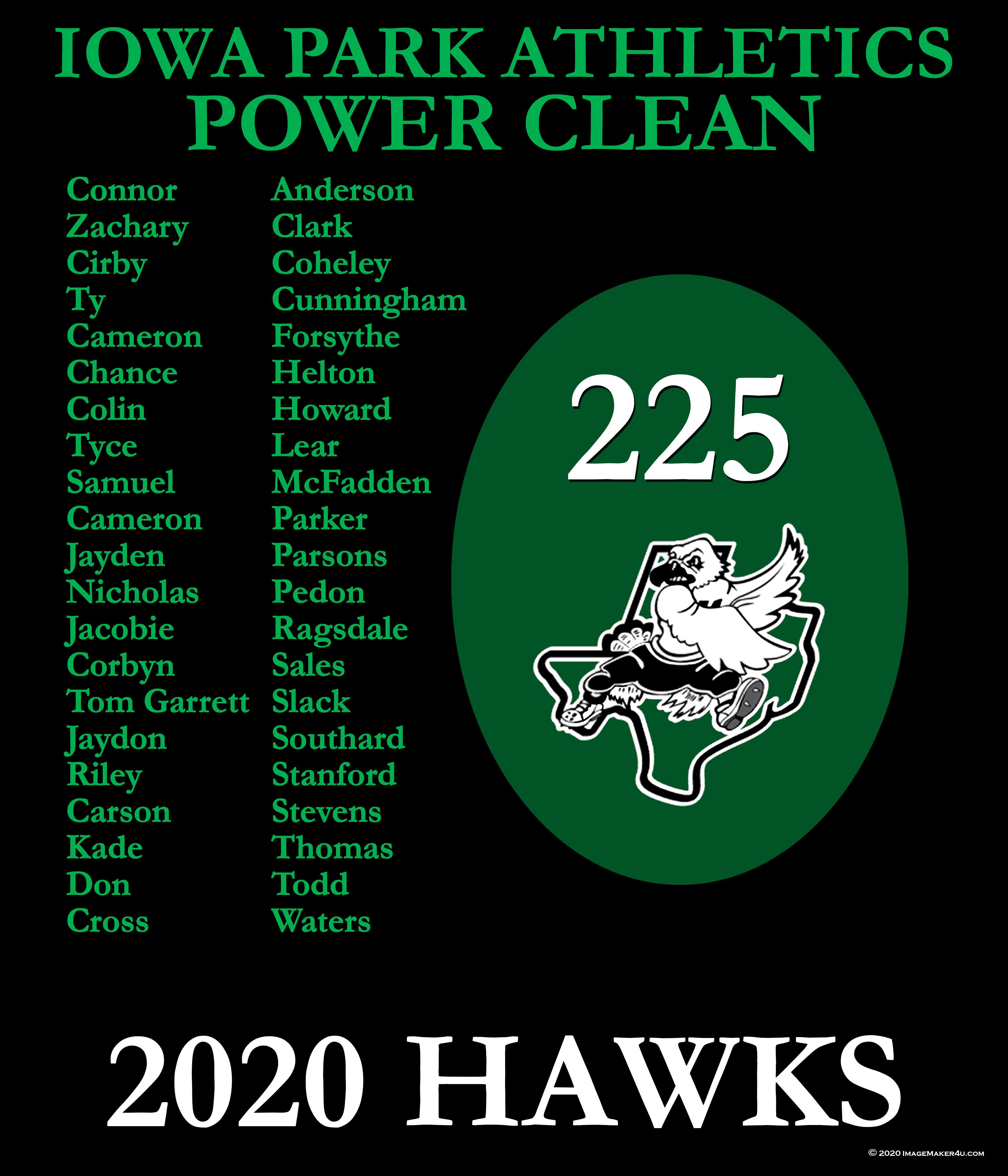 Iowa Park 2019 Power Clean board 42x36
