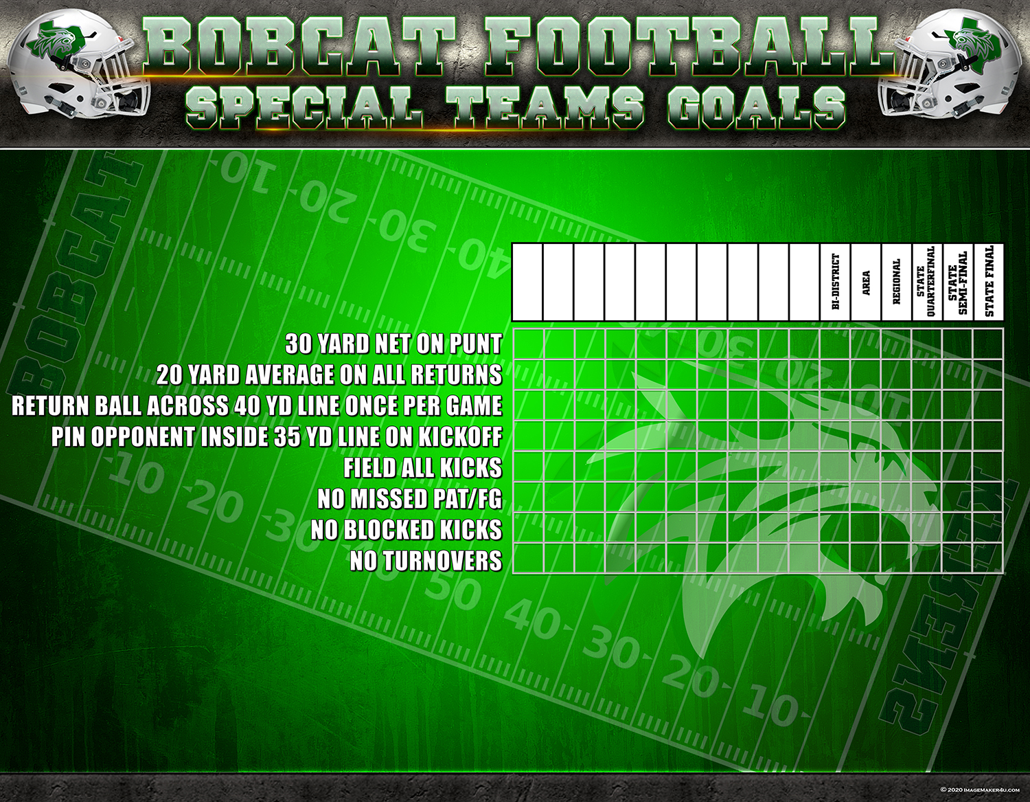Kerens FB Special Teams Goals board 42in ×54in