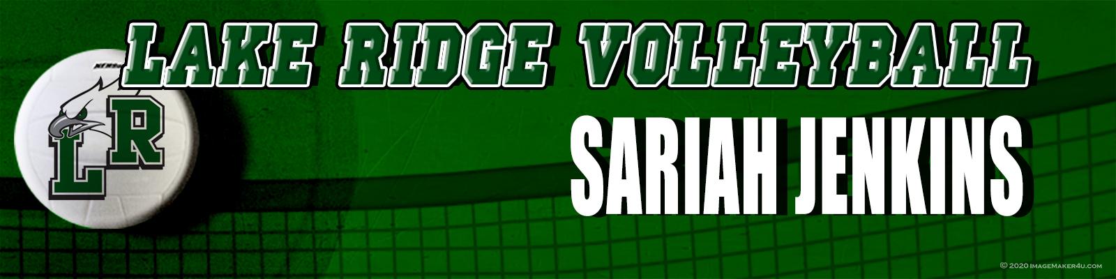 Mansfield Lake Ridge VB Sub-Varsity Locker Sariah Jenkins Tags 2in x 8in